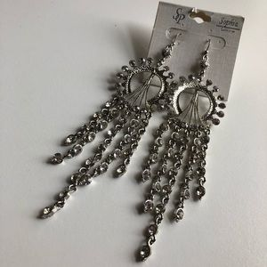Jewelry - Sophia Collection Long Earrings Silvertone